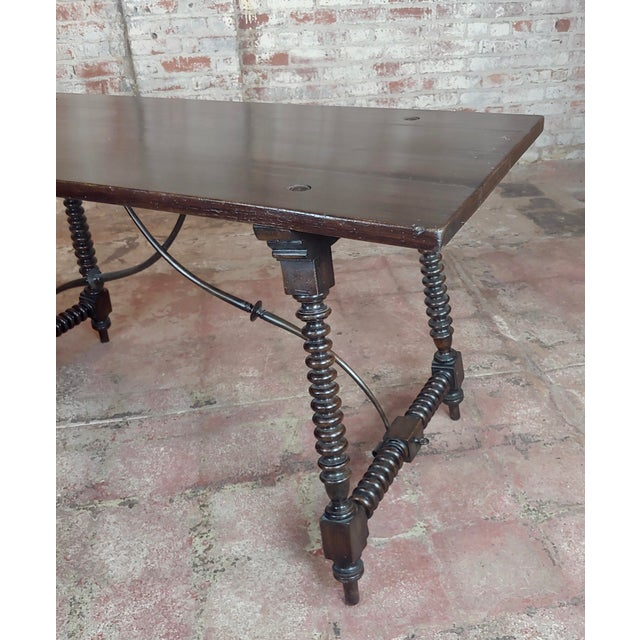 20th Century Spanish Revival Walnut Table With Iron Stretcher Bars For Sale In Los Angeles - Image 6 of 12