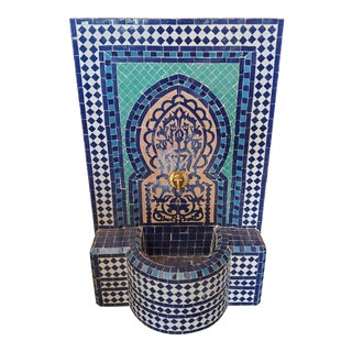 "Turquoise Moroccan ""Tree of Life"" Mosaic Fountain For Sale"