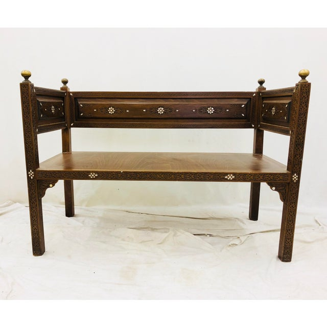 Early 20th Century Antique Pearl & Brass Detail Wooden Bench For Sale - Image 5 of 12