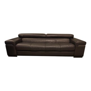 Natuzzi Italia Avana Black Leather Sofa Set - 2 Pc.