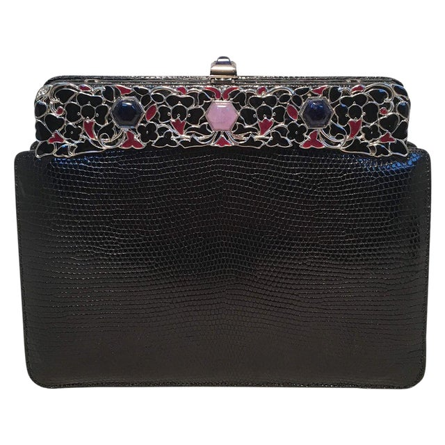 Judith Leiber Black Lizard Floral Enamel Top Clutch For Sale