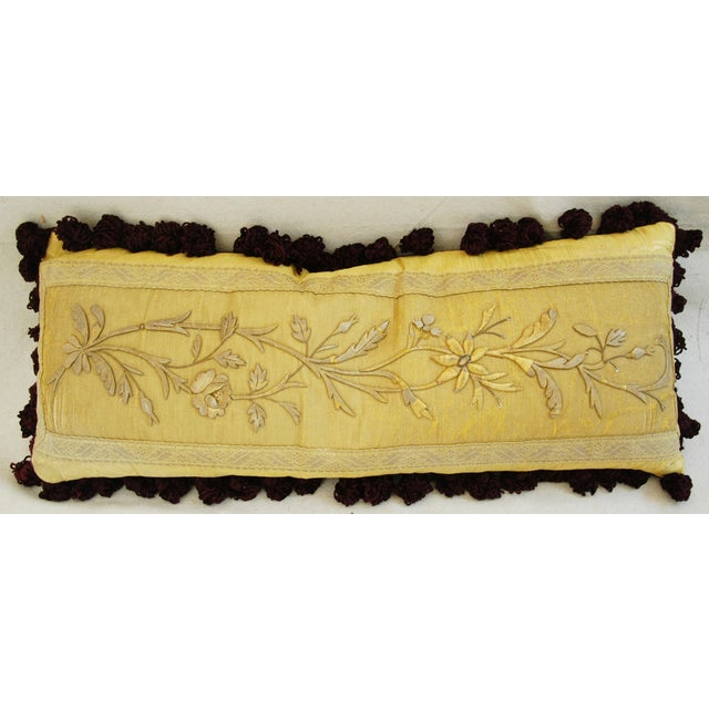 Antique French Silk Embroidered Pillow - Image 5 of 8