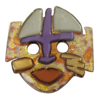Anne and Frank Vigneri Lucite Oversized Mask Pin Brooch With Multicolor Inclusions For Sale