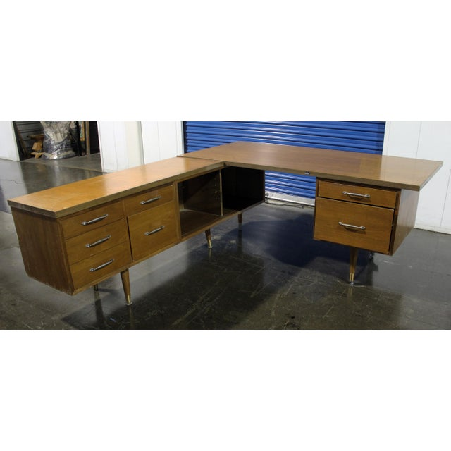 Brown Mid-Century Modern Executive Secretary Desk For Sale - Image 8 of 8