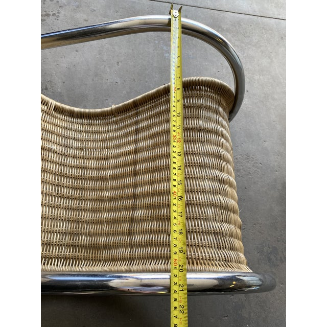 Metal Vintage Woven Chrome & Rattan Italian Rocking Chair For Sale - Image 7 of 12