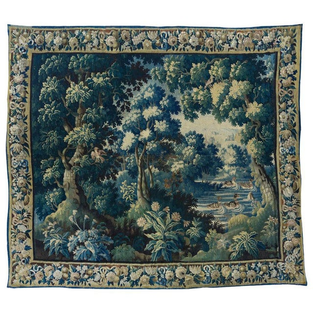 Antique Square 17th Century Flemish Verdure Landscape with Birds Tapestry For Sale - Image 10 of 10