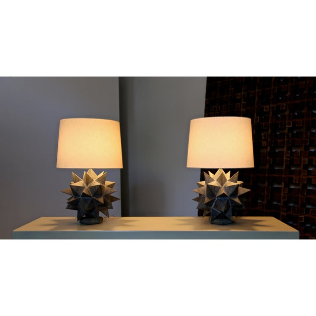 Green Sculptural Metal Table Lamps, Circa 1965 - a Pair For Sale - Image 8 of 12