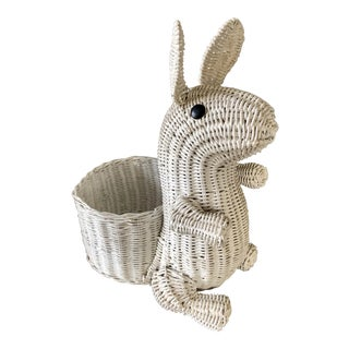 Vintage White Wicker Bunny Planter For Sale