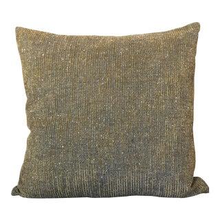 Golden Grey Linen and Velvet Pillow For Sale