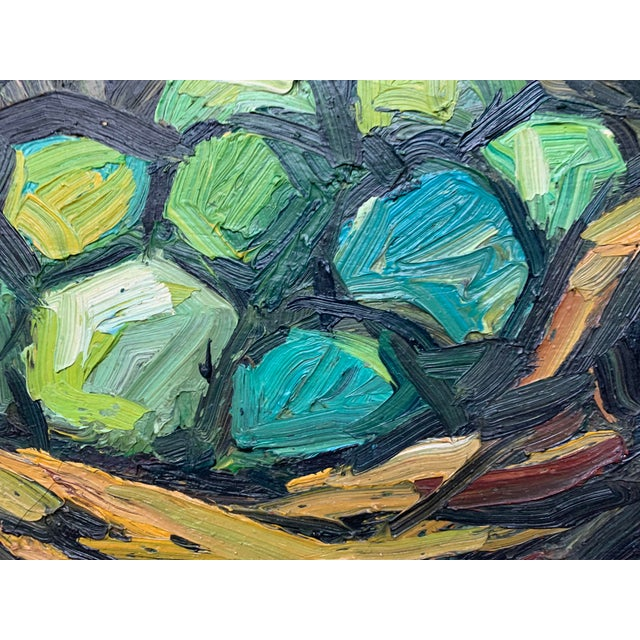 Expressionism 1960s Vintage Signed Oil on Canvas Still Life Painting For Sale - Image 3 of 4
