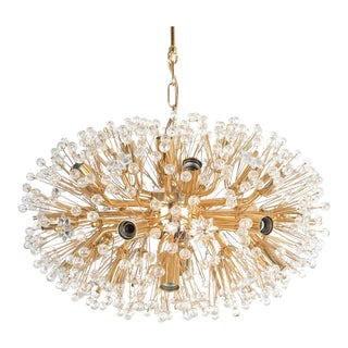 Oval Emil Stejnar Starburst Chandelier Lamp Brass Glass Gold, Austria, 1970