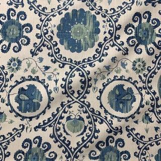 Carleton V. Oxus Blues Linen Fabric For Sale