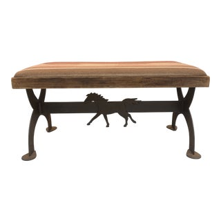Southwestern Style Upholstered Iron Bench With Horse Motif For Sale
