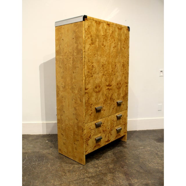 Mid-Century Modern Mid Century Modern Burl and Chrome High Chest Wardrobe by Pace For Sale - Image 3 of 10