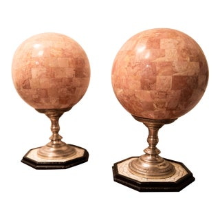 Vintage Pink Marble Sphere Decorations - a Pair For Sale