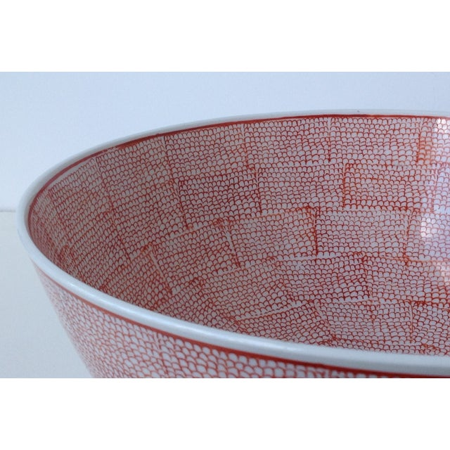 Wood Vintage Asian Hand Decorated Porcelain Bowl For Sale - Image 7 of 11
