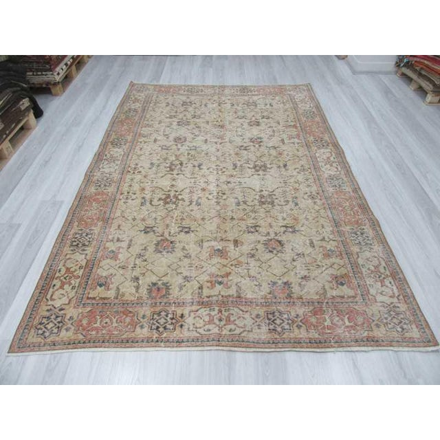 Islamic Vintage Turkish Oushak Distressed Rug- 6′7″ × 9′8″ For Sale - Image 3 of 12