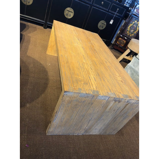 2010s Washed Elm Wood Coffee Table For Sale - Image 5 of 7