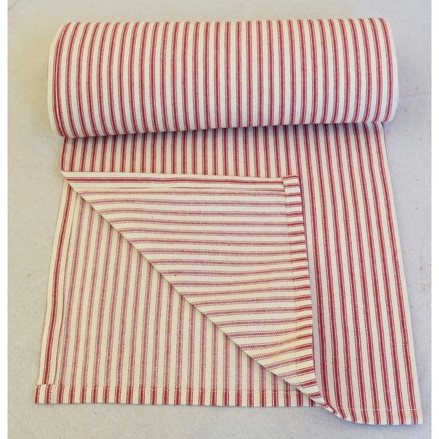 "Abstract French Country Red & Ivory Ticking Table Runner 109"" Long For Sale - Image 3 of 7"