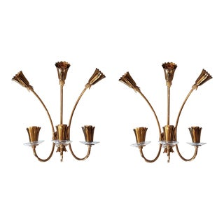 brass/glass mid-century modern sconces, Stilnovo style - a pair For Sale