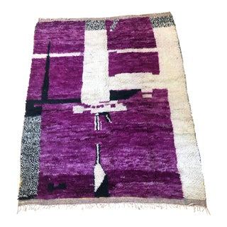 """Abstract Bohemian Moroccan Area Rug - 5'' X 6' 6"""" For Sale"""