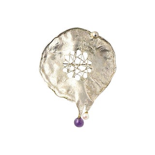 Freeform Sterling Silver Amethyst & Pearl Pendant Brooch For Sale