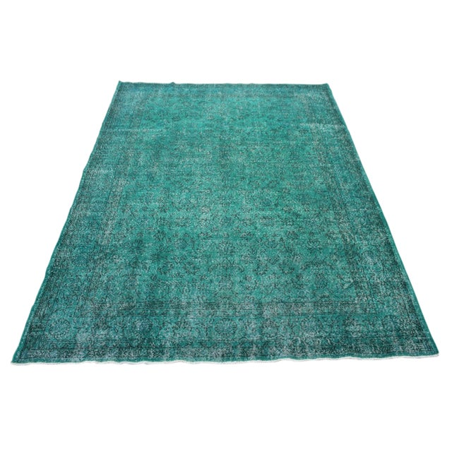 "Vintage Over-Dyed Teal Rug - 7'6"" x 10'9"" - Image 1 of 9"