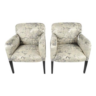 "Stunning Pair of Angelo Donghia ""Norway"" Club Chairs in Donghia ""Edith"" Fabric For Sale"