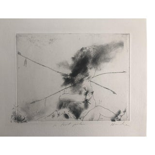 """""""10 Foot Poles"""" Abstract Figurative Etching by Dellas Henke, 1970s For Sale"""