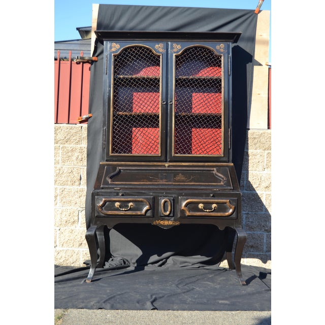 Gold Leaf Chinoiserie Secretaire/Bookcase For Sale - Image 7 of 10