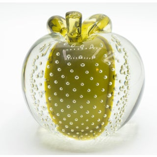 Salviati Sommerso Control Bubble Mid-Century Modern Art Glass Apple Bookend Paperweight Preview