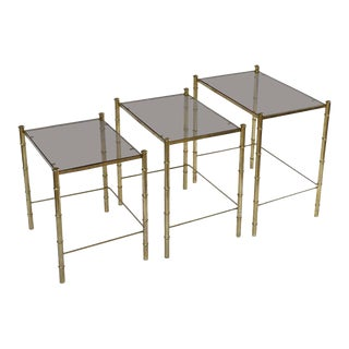 French Nesting Low Tables of Gilt Metal and Glass For Sale