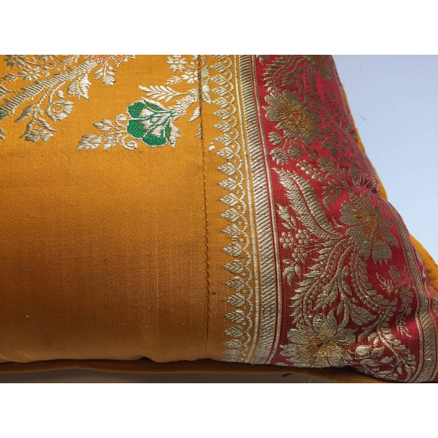 1990s Orange Silk Pillow Custom Made From Indian Wedding Saris For Sale - Image 5 of 7