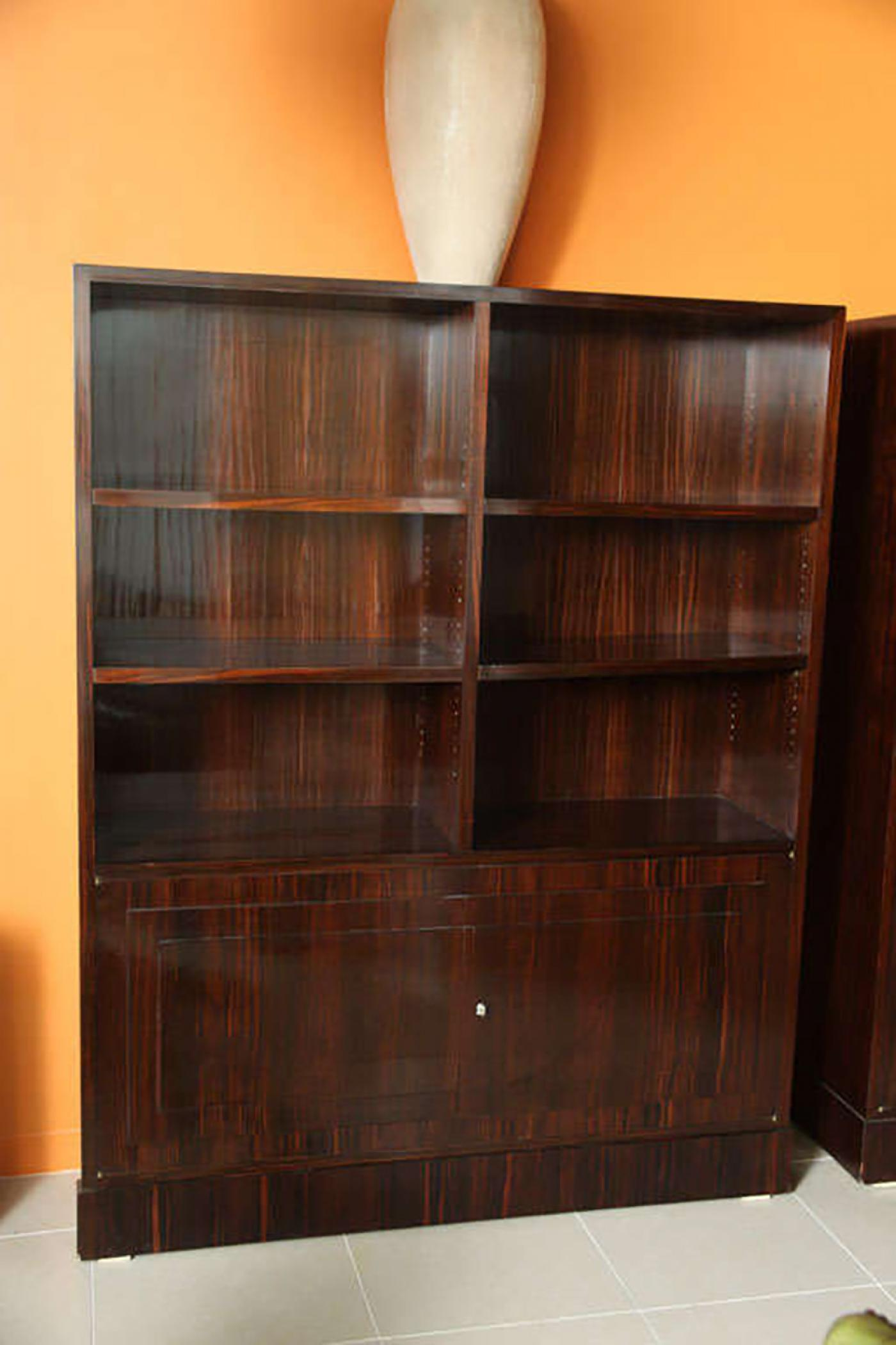 Pair Of French Late Art Deco Ebony De Macassar Bookcase Cabinets, By  Dominique   Image