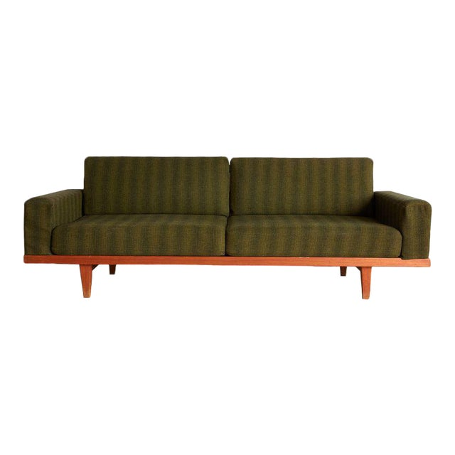 Vintage Danish Modern Green Striped Wool Couch For Sale