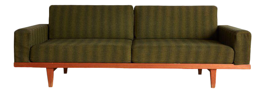 Vintage Danish Modern Green Striped Wool Couch