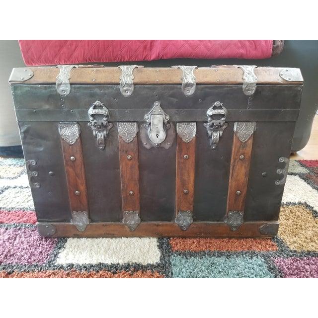 Antique Beveled Top, Wood Slatted Metal Trunk - Image 2 of 8
