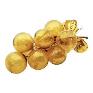 Vintage Amber and Gold Murano Glass Table Sculpture of Over-Scaled Grapes For Sale