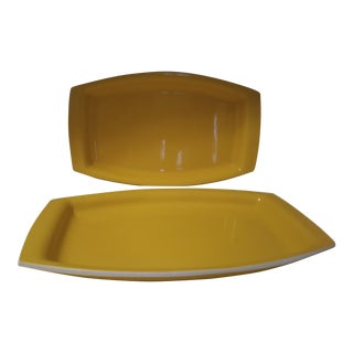 Mid-Century Yellow Trays by International Laminations - Set of 4