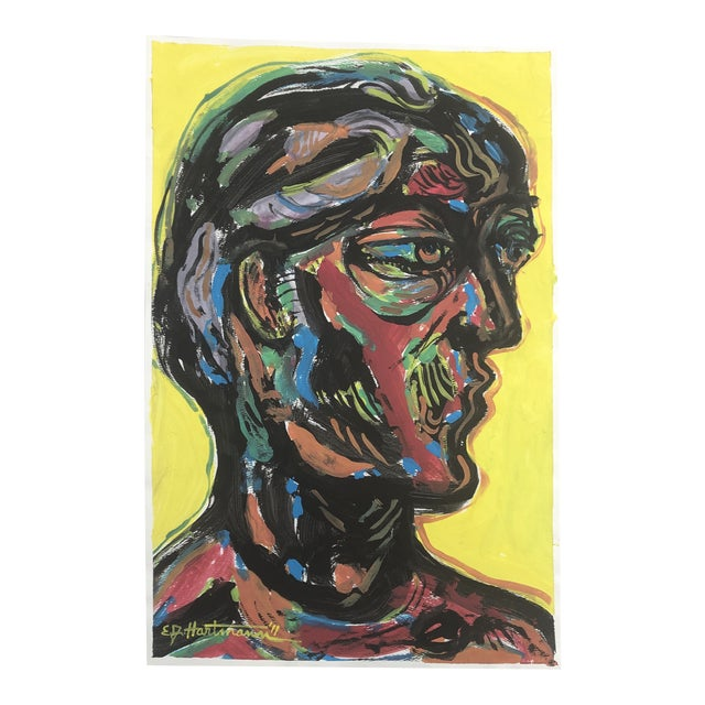 Original Contemporary Abstract Pop Art Portrait Painting Signed For Sale