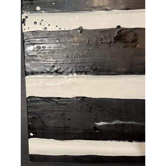 """Lynn Basa Encaustic Black and White Stripe Panel """"Doppleganger"""" 2013 For Sale In New York - Image 6 of 12"""