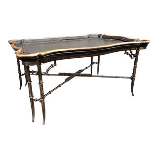 Chinese Black and Bronze Gilt Styled Scalloped Coffee Table For Sale