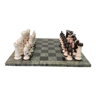 Marble Chess Board With Porcelaine Chess Pieces - 33 Pieces For Sale
