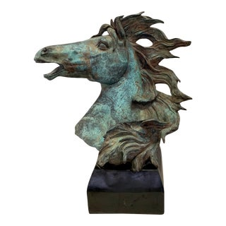 Vintage Bronze Horsehead Bust Sculpture With Natural Verdigris For Sale