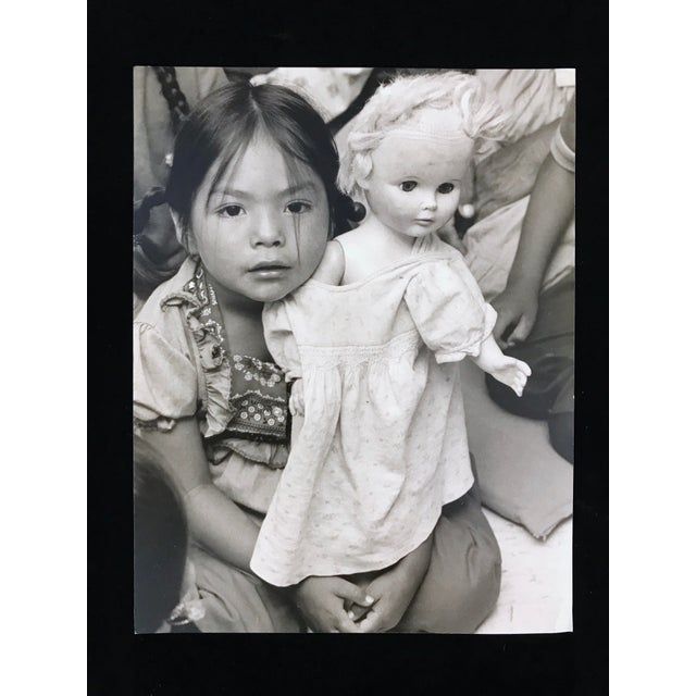 """Vintage Photograph """"Cultural Confusion -A Navajo Schoolgirl With Her White Doll"""" by Paul S. Conklin For Sale In Portland, OR - Image 6 of 6"""
