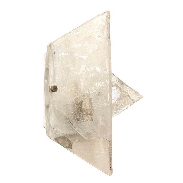 Mazzega Murano Murano Glass Sconces or Flush Mounts by Mazzega - a Pair For Sale - Image 4 of 8
