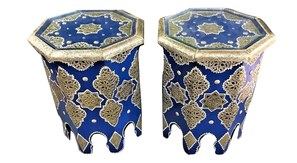 Moroccan Silver Metal Inlaid Side Table In Blue   A Pair