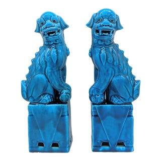 """13"""" Late 20th Century Vintage Turquoise Blue Chinese Foo Dogs - a Pair For Sale"""