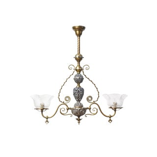 Two Light Victorian Brass and Nickel Fixture
