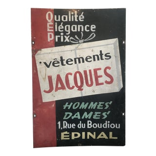 French Two-Sided Store Sign Vetements and Cadeaux Ceram For Sale